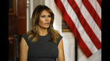 First lady Melania Trump speaks during a listening session with teenagers about their experiences with electronic cigarettes and vaping in the Blue Room of the White House, Wednesday, Oct. 9, 2019, in Washington. (AP Photo/Patrick Semansky)