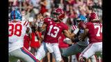 Alabama quarterback Tua Tagovailoa (13) throws long during the first half of an NCAA college football game against Mississippi, Saturday, Sept. 28, 2019, in Tuscaloosa, Ala. (AP Photo/Vasha Hunt)