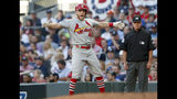 St. Louis Cardinals' Harrison Bader celebrates after hitting a single to score teammate Kolten Wong during the third inning of Game 5 of their National League Division Series baseball game against the Atlanta Braves, Wednesday, Oct. 9, 2019, in Atlanta. (AP Photo/John Bazemore)