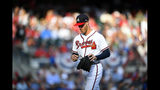 Atlanta Braves starting pitcher Mike Foltynewicz is relieved during the first inning of Game 5 of their National League Division Series baseball game against the St. Louis Cardinals, Wednesday, Oct. 9, 2019, in Atlanta. (AP Photo/John Amis)