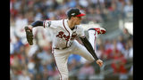 Atlanta Braves pitcher Max Fried throws in the second inning of Game 5 of their National League Division Series baseball game against the St. Louis Cardinals, Wednesday, Oct. 9, 2019, in Atlanta. (AP Photo/John Bazemore)