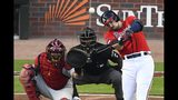 Atlanta Braves left fielder Adam Duvall (23) watches his two-run homer against the St. Louis Cardinals in the seventh inning during Game 2 of a best-of-five National League Division Series, Friday, Oct. 4, 2019, in Atlanta. (AP Photo/Scott Cunningham)