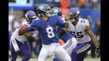 New York Giants quarterback Daniel Jones (8) passes against the Minnesota Vikings during the first quarter of an NFL football game, Sunday, Oct. 6, 2019, in East Rutherford, N.J. (AP Photo/Bill Kostroun)