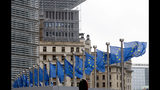 European Union flags flap in the wind at EU headquarters in Brussels, Wednesday, Oct. 9, 2019. Irish Prime Minister Leo Varadkar said that big gaps remain between Britain and the European Union as they try to secure a Brexit deal by next week.(AP Photo/Virginia Mayo)
