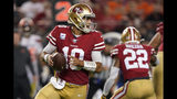 San Francisco 49ers quarterback Jimmy Garoppolo (10) passes against the Cleveland Browns during the second half of an NFL football game in Santa Clara, Calif., Monday, Oct. 7, 2019. (AP Photo/Tony Avelar)