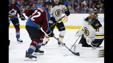 Colorado Avalanche right wing Joonas Donskoi, left, has his shot stopped by Boston Bruins goaltender Jaroslav Halak during the third period of an NHL hockey game Thursday, Oct. 10, 2019, in Denver. Colorado won 4-2. (AP Photo/David Zalubowski)