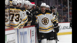 Boston Bruins right wing David Pastrnak, right, is congratulated after scoring a goal as he passes by the team box in the first period of an NHL hockey game against the Colorado Avalanche, Thursday, Oct. 10, 2019, in Denver. (AP Photo/David Zalubowski)