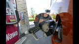 In this Tuesday, Sept. 17, 2019 photo, a car fills up at a gas pump in Orlando, Fla. On Thursday, Oct. 10, the Labor Department reports on U.S. consumer prices for September. (AP Photo/John Raoux)