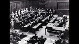 FILE - This 1945 file picture shows the interior view of the court room of the Nuremberg Trials against Top Nazis in Nuremberg. Audio recordings from the historic Nuremberg trials will be made available to the public for the first time in digital form after a nearly two-year digitization process conducted in secret. The files capture around 1,200 hours of the high-profile trial of Nazi leaders in Nuremberg, Germany from 1945 to 1946. (dpa via AP, File)