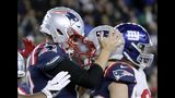 New England Patriots quarterback Tom Brady, left, celebrates his touchdown with Gunner Olszewski after scoring on a quarterback sneak in the second half of an NFL football game against the New York Giants, Thursday, Oct. 10, 2019, in Foxborough, Mass. (AP Photo/Elise Amendola)