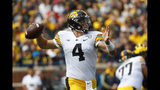 Iowa quarterback Nate Stanley throws during the first half of an NCAA college football game against Michigan in Ann Arbor, Mich., Saturday, Oct. 5, 2019. (AP Photo/Paul Sancya)