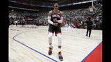 Houston Rockets' Russell Westbrook screams before the start of the team's NBA preseason basketball game against the Toronto Raptors Thursday, Oct. 10, 2019, in Saitama, near Tokyo. (AP Photo/Jae C. Hong)