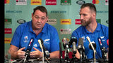 New Zealand All Blacks coach Steve Hansen and captain Kieran Read, right, address a press conference following the announcement of the cancellation of their Oct. 12 pool match match against Italy, in Tokyo, Japan, Thursday, Oct.10, 2019. Rugby World Cup organizers have had to cancel two games scheduled for Saturday because of concerns over the anticipated impact of Typhoon Hagibis. (Mark Mitchell/NZ Herald via AP)