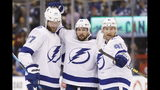 Tampa Bay Lightning defenseman Victor Hedman (77), right wing Nikita Kucherov (86) and center Steven Stamkos (91) celebrate a goal against the Toronto Maple Leafs during the first period of an NHL hockey game Thursday, Oct. 10, 2019, in Toronto. (Cole Burston/The Canadian Press via AP)