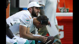 "FILE - In this Sunday, Sept. 8, 2019, file photo, Miami Dolphins quarterback Josh Rosen (3) looks up from the sidelines during the second half at an NFL football game in Miami Gardens, Fla. You can take that ""any given Sunday"" bromide and toss it out with some of Case Keenum's interceptions. So far in 2019, there is a Grand Canyon of separation between the contenders and everybody else. (AP Photo/Brynn Anderson, File)"