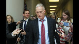 """FILE - In this Dec. 7, 2018, file photo, then-Rep. Trey Gowdy, R-S.C., speaks to reporters on Capitol Hill in Washington. Gowdy swore he'd had enough of Washington. Disgusted by what he'd seen, the former South Carolina congressman retired from office last year, declaring his skills are better used """"in a courtroom than in Congress."""" Now he's coming back for impeachment. A former prosecutor who led the House investigation into the 2012 attacks in Benghazi, Libya, Gowdy is poised to join President Donald Trump's legal team. (AP Photo/Manuel Balce Ceneta, File)"""