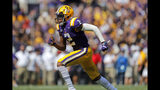 LSU wide receiver Justin Jefferson (2) runs a pass route in the first half of an NCAA college football game against Utah State in Baton Rouge, La., Saturday, Oct. 5, 2019. LSU won 42-6. (AP Photo/Gerald Herbert)