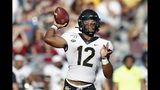 Wake Forest quarterback Jamie Newman passes during the first half of an NCAA college football game against Boston College in Boston, Saturday, Sept. 28, 2019. (AP Photo/Michael Dwyer)