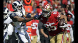 San Francisco 49ers tight end George Kittle (85) stiff-arms Los Angeles Rams cornerback Marcus Peters (22) during the first half of an NFL football game Sunday, Oct. 13, 2019, in Los Angeles. (AP Photo/Alex Gallardo)