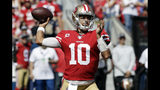 San Francisco 49ers quarterback Jimmy Garoppolo throws against the Los Angeles Rams during the first half of an NFL football game Sunday, Oct. 13, 2019, in Los Angeles. (AP Photo/Alex Gallardo)