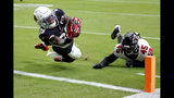 Arizona Cardinals running back Chase Edmonds (29) scores a touchdown as Atlanta Falcons linebacker Deion Jones (45) defends during the first half of an NFL football game, Sunday, Oct. 13, 2019, in Glendale, Ariz. (AP Photo/Ross D. Franklin)