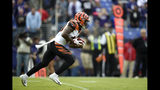 Cincinnati Bengals' Brandon Wilson runs uncontested while returning the opening kickoff from the Baltimore Ravens for a touchdown during the first half of an NFL football game Sunday, Oct. 13, 2019, in Baltimore. (AP Photo/Gail Burton)