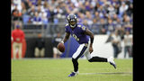 Baltimore Ravens quarterback Lamar Jackson scrambles against the Cincinnati Bengals during the second half of a NFL football game Sunday, Oct. 13, 2019, in Baltimore. (AP Photo/Nick Wass)