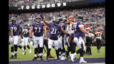 Baltimore Ravens running back Mark Ingram (21) reacts after scoring a touchdown on a run against the Cincinnati Bengals during the first half of a NFL football game Sunday, Oct. 13, 2019, in Baltimore. (AP Photo/Nick Wass)