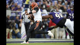 Cincinnati Bengals quarterback Andy Dalton, left, avoids a hit from Baltimore Ravens defensive end Brandon Williams (98) while scoring on a touchdown run during the second half of a NFL football game Sunday, Oct. 13, 2019, in Baltimore. The Ravens won 23-17. (AP Photo/Gail Burton)