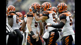 Cincinnati Bengals outside linebacker Nick Vigil, center left, is congratulated by defensive tackle defensive end Carl Lawson after recovering a fumble by Baltimore Ravens tight end Mark Andrews during the first half of a NFL football game Sunday, Oct. 13, 2019, in Baltimore. (AP Photo/Gail Burton)