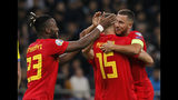 Belgium's Thomas Meunier center, celebrates with teammates after scoring his side's second goal during the Euro 2020 group I qualifying soccer match between Kazakhstan and Belgium at the Astana Arena stadium in Nur-Sultan, Kazakhstan, Sunday, Oct. 13, 2019. (AP Photo)