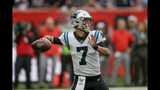 Carolina Panthers quarterback Kyle Allen (7) passes against the Tampa Bay Buccaneers during the second quarter of an NFL football game, Sunday, Oct. 13, 2019, at Tottenham Hotspur Stadium in London. (AP Photo/Tim Ireland)