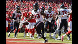 Houston Texans running back Carlos Hyde (23) scores a touchdown during the first half of an NFL football game against the Kansas City Chiefs in Kansas City, Mo., Sunday, Oct. 13, 2019. (AP Photo/Ed Zurga)