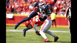 Houston Texans wide receiver DeAndre Hopkins (10) is upended by Kansas City Chiefs safety Tyrann Mathieu (32) during the first half of an NFL football game in Kansas City, Mo., Sunday, Oct. 13, 2019. (AP Photo/Ed Zurga)