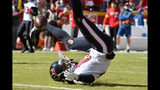 Houston Texans wide receiver Will Fuller V cannot hold onto the ball during the first half of an NFL football game against the Kansas City Chiefs in Kansas City, Mo., Sunday, Oct. 13, 2019. (AP Photo/Ed Zurga)