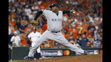 New York Yankees pitcher CC Sabathia throws against the Houston Astros during the 10th inning in Game 2 of baseball's American League Championship Series Sunday, Oct. 13, 2019, in Houston. (AP Photo/Matt Slocum)