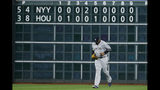 New York Yankees pitcher CC Sabathia comes into the game against the Houston Astros during the 10th inning in Game 2 of baseball's American League Championship Series Sunday, Oct. 13, 2019, in Houston. (AP Photo/Matt Slocum)