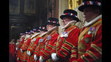 Members of the Yeoman Guard ahead of the official State Opening of Parliament in London, Monday Oct. 14, 2019. (Victoria Jones/Pool via AP)