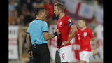 England's Harry Kane, right, speaks with Referee Ivan Bebek during the Euro 2020 group A qualifying soccer match between Bulgaria and England, at the Vasil Levski national stadium, in Sofia, Bulgaria, Monday, Oct. 14, 2019. (AP Photo/Vadim Ghirda)