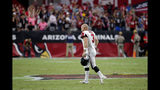 Atlanta Falcons kicker Matt Bryant (3) runs to his bench after missing a point after attempt against the Arizona Cardinals during the second half of an NFL football game, Sunday, Oct. 13, 2019, in Glendale, Ariz. The Cardinals won 34-33. (AP Photo/Rick Scuteri)