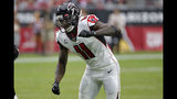 Atlanta Falcons wide receiver Julio Jones (11) lines up against the Arizona Cardinals during the second half of an NFL football game, Sunday, Oct. 13, 2019, in Glendale, Ariz. (AP Photo/Rick Scuteri)