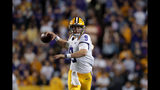 LSU quarterback Joe Burrow (9) passes in the second half of an NCAA college football game against Florida in Baton Rouge, La., Saturday, Oct. 12, 2019. LSU won 42-28. (AP Photo/Gerald Herbert)