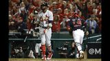 St. Louis Cardinals' Dexter Fowler reacts after striking out during the seventh inning of Game 3 of the baseball National League Championship Series against the Washington Nationals Monday, Oct. 14, 2019, in Washington. (AP Photo/Patrick Semansky)