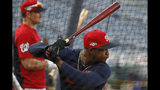 Washington Nationals' Victor Robles takes batting practice before Game 4 of a baseball National League Division Series against the Los Angeles Dodgers, Monday, Oct. 7, 2019, in Washington. (AP Photo/Alex Brandon)