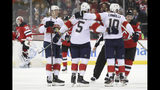 Florida Panthers right wing Brett Connolly (10) celebrates after scoring a goal against the New Jersey Devils during the second period of an NHL hockey game, Monday, Oct. 14, 2019, in Newark, N.J. (AP Photo/Mary Altaffer)