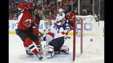 New Jersey Devils center Pavel Zacha (37) scores a goal past Florida Panthers goaltender Sergei Bobrovsky (72) during the second period of an NHL hockey game Monday, Oct. 14, 2019, in Newark, N.J. (AP Photo/Mary Altaffer)