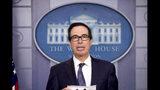 Treasury Secretary Steven Mnuchin speakd in the Briefing Room of the White House in Washington, Friday, Oct. 11, 2019. (AP Photo/Andrew Harnik)