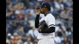 New York Yankees starting pitcher Luis Severino gets ready to throw against the Houston Astros during the first inning in Game 3 of baseball's American League Championship Series Tuesday, Oct. 15, 2019, in New York. (AP Photo/Matt Slocum)