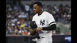 New York Yankees starting pitcher Luis Severino leaves the game against the Houston Astros during the fifth inning in Game 3 of baseball's American League Championship Series Tuesday, Oct. 15, 2019, in New York. (AP Photo/Matt Slocum)