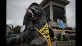 A lion statue is decorated by Extinction Rebellion climate change protesters in Trafalgar Square, London, Friday, Oct. 11, 2019. Some hundreds of climate change activists are in London during a fifth day of protests by the Extinction Rebellion movement to demand more urgent actions to counter global warming. (AP Photo/Matt Dunham)
